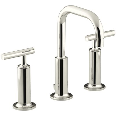 Purist Widespread Bathroom Sink Faucet with High Lever Handles and Low Gooseneck Spout Finish: Vibrant Polished Nickel