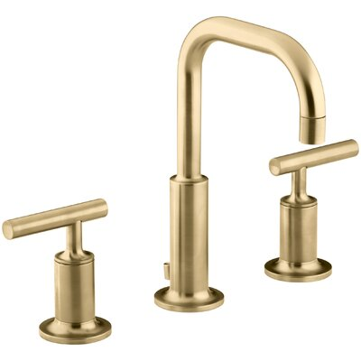 Purist Widespread Bathroom Sink Faucet with Low Lever Handles and Low Gooseneck Spout Finish: Vibrant Moderne Brushed Gold