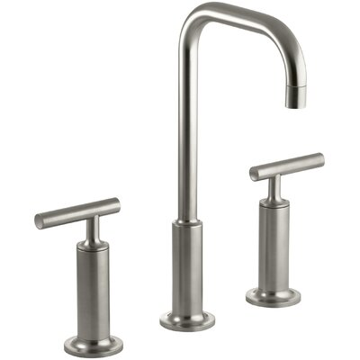 Purist Widespread Bathroom Sink Faucet with High Lever Handles and High Gooseneck Spout Finish: Vibrant Brushed Nickel