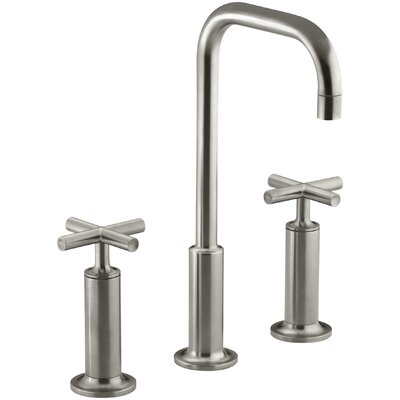 Purist Widespread Bathroom Sink Faucet with High Cross Handles and High Gooseneck Spout Finish: Vibrant Brushed Nickel