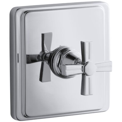 Pinstripe Valve Trim with Cross Handle for Thermostatic Valve, Requires Valve Finish: Polished Chrome