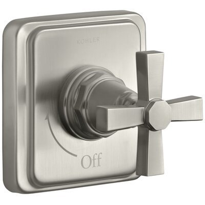 Pinstripe Valve Trim with Pure Design Cross Handle for Volume Control Valve, Requires Valve Finish: Vibrant Brushed Nickel