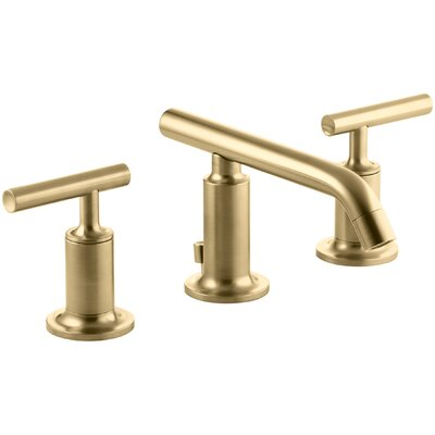 Purist Widespread Bathroom Sink Faucet with Low Lever Handles and Low Spout Finish: Vibrant Moderne Brushed Gold