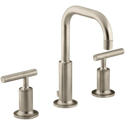 Purist Widespread Bathroom Sink Faucet with Low Lever Handles and Low Gooseneck Spout Finish: Vibrant Brushed Bronze