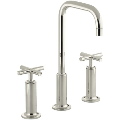Purist Widespread Bathroom Sink Faucet with High Cross Handles and High Gooseneck Spout Finish: Vibrant Polished Nickel