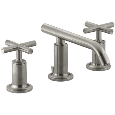 Purist Widespread Bathroom Sink Faucet with Low Cross Handles and Low Spout Finish: Vibrant Brushed Nickel
