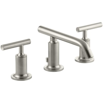 Purist Widespread Bathroom Sink Faucet with Low Lever Handles and Low Spout Finish: Vibrant Brushed Nickel