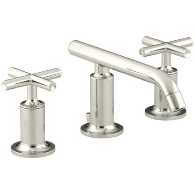 Purist Widespread Bathroom Sink Faucet with Low Cross Handles and Low Spout Finish: Vibrant Polished Nickel