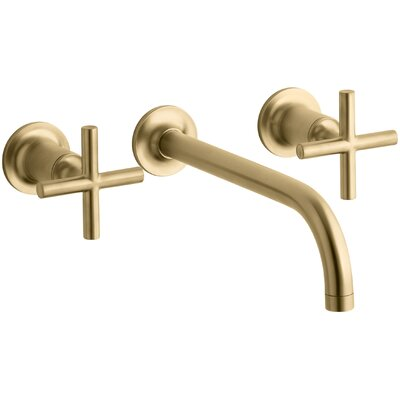 Purist Wall-Mount Bathroom Sink Faucet Trim with 9, 90-Degree Angle Spout and Cross Handles, Requires Valve Finish: Vibrant Moderne Brushed Gold