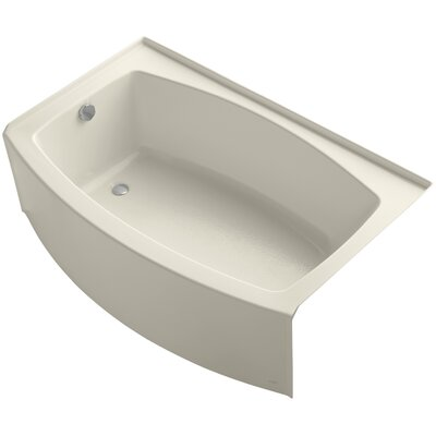 Expanse Curved Alcove 60 x 38 Soaking Bathtub Sink Finish: Almond