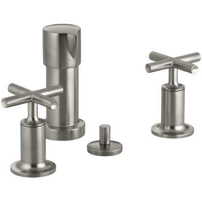 Purist Vertical Spray Bidet Faucet with Cross Handles Finish: Vibrant Brushed Nickel