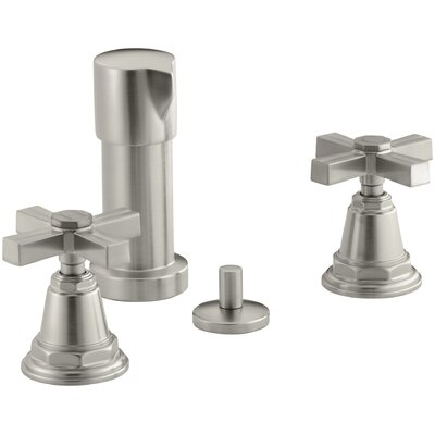 Pinstripe Vertical Spray Bidet Faucet with Cross Handles Finish: Vibrant Brushed Nickel
