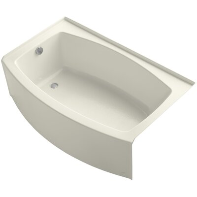 Expanse Curved Alcove 60 x 38 Soaking Bathtub Sink Finish: Biscuit