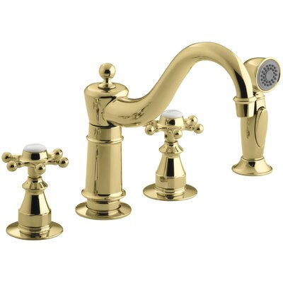 Antique Three-Hole Kitchen Sink Faucet with 8-5/8 Spout, Sidespray and 6-Prong Handles Finish: Vibrant Polished Brass