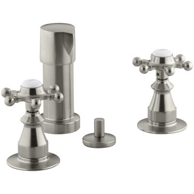 Antique Double Handle Vertical Spray Bidet Faucet with Six-Prong Handles Finish: Vibrant Brushed Nickel