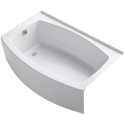 Expanse Curved Alcove 60 x 38 Soaking Bathtub Sink Finish: White
