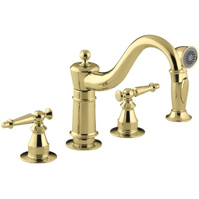 Antique Three-Hole Kitchen Sink Faucet with 8-5/8
