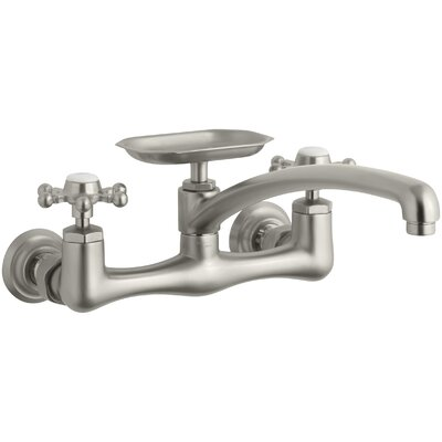 Antique Two-Hole Wall-Mount Kitchen Sink Faucet with 8 Spout, Soap Dish and 6-Prong Handles Finish: Vibrant Brushed Nickel, Spout Reach: 12 Swing Spout