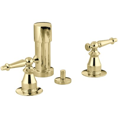 Antique Vertical Spray Bidet Faucet with Lever Handles Finish: Vibrant Polished Brass