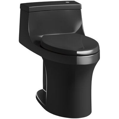 San Souci Comfort Height One Piece Compact Elongated Touchless Toilet with Aquapiston Flushing Technology Finish: Black Black