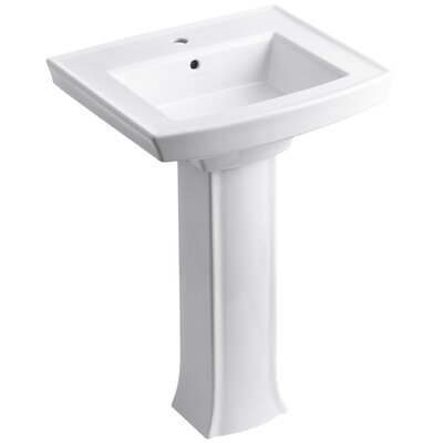 Archer Pedestal Bathroom Sink Finish: White, Faucet Hole Style: Single