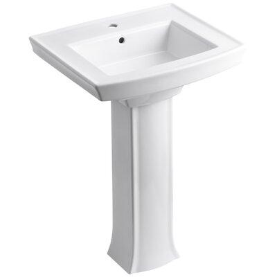 Archer Pedestal Bathroom Sink Finish: White, Faucet Hole Style: Single