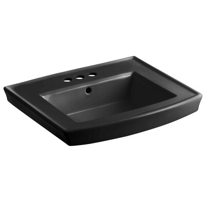 Archer 24 Pedestal Bathroom Sink Finish: Black Black, Faucet Hole Style: 4 Centerset