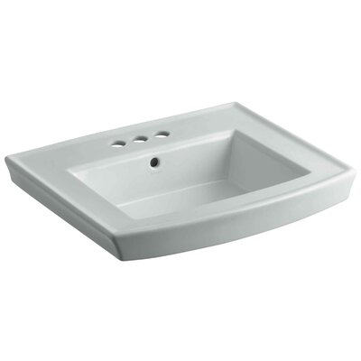Archer 24 Pedestal Bathroom Sink Finish: Ice Grey, Faucet Hole Style: 8 Widespread