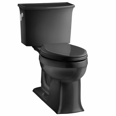 Archer 2 Piece Elongated Toilet with Aquapiston Flush Technology Finish: Black Black