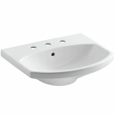 Cimarron� Ceramic 23 Pedestal Bathroom Sink with Overflow Sink Finish: White, Faucet Mount: Single