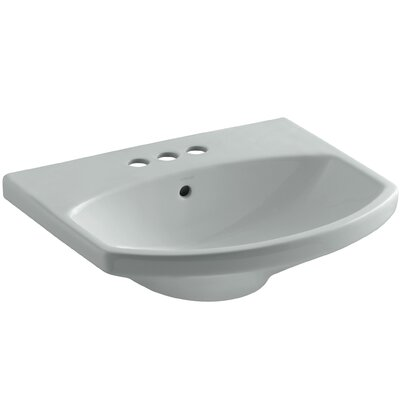 Cimarron� Ceramic 23 Pedestal Bathroom Sink with Overflow Sink Finish: Ice Grey, Faucet Mount: 8 Widespread
