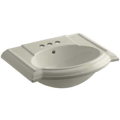 Devonshire� Ceramic 24 Pedestal Bathroom Sink with Overflow Finish: Sandbar