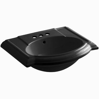 Devonshire� Ceramic 24 Pedestal Bathroom Sink with Overflow Finish: Black Black