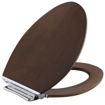 Avantis Quiet-Close with Grip-Tight Elongated Toilet Seat with Quick-Release Polished Chrome Metal Hinges Finish: Light Antique Walnut