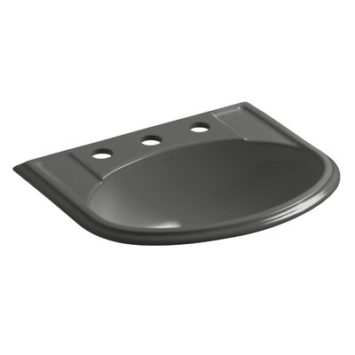 Devonshire Ceramic U-Shaped Drop-In Bathroom Sink with Overflow Finish: Thunder Grey