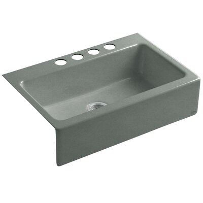 Dickinson 33 x 22-1/8 x 8-3/4 Apron-Front, Under-Mount Single-Bowl Kitchen Sink with 4 Oversize Faucet Holes Finish: Basalt