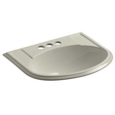 Devonshire� Ceramic U-Shaped Drop-In Bathroom Sink with Overflow Finish: Sandbar