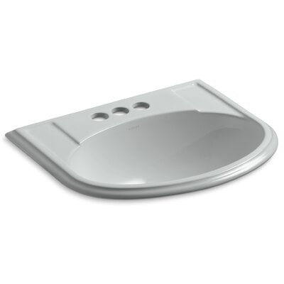 Devonshire� Ceramic U-Shaped Drop-In Bathroom Sink with Overflow Finish: Ice Grey