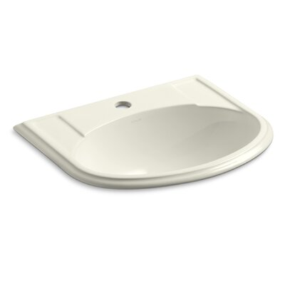 Devonshire Ceramic U-Shaped Drop-In Bathroom Sink with Overflow Finish: Biscuit