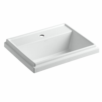 Tresham Drop-In Self rimming Bathroom Sink with Faucet Center 8 Finish: White, Faucet Hole Style: Single