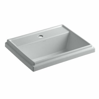 Tresham� Ceramic Rectangular Drop-In Bathroom Sink with Overflow Finish: Ice Grey, Faucet Hole Style: 4 Centerset