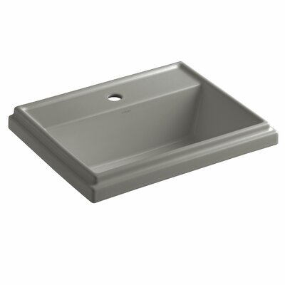 Tresham� Ceramic Rectangular Drop-In Bathroom Sink with Overflow Finish: Cashmere, Faucet Hole Style: Single