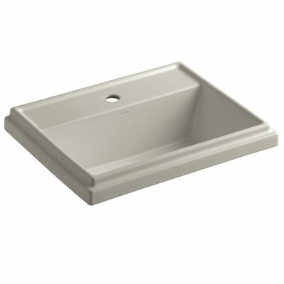 Tresham� Ceramic Rectangular Drop-In Bathroom Sink with Overflow Finish: Sandbar, Faucet Hole Style: 4 Centerset