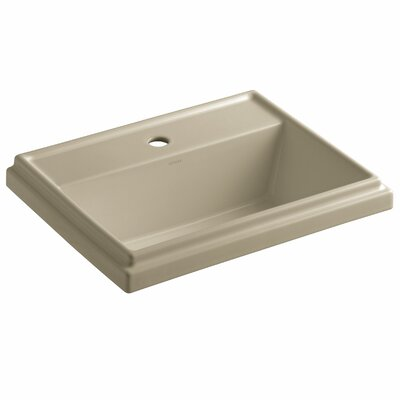 Tresham� Ceramic Rectangular Drop-In Bathroom Sink with Overflow Finish: Mexican Sand, Faucet Hole Style: 8 Widespread