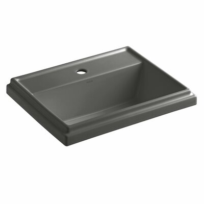 Tresham� Ceramic Rectangular Drop-In Bathroom Sink with Overflow Finish: Thunder Grey, Faucet Hole Style: Single