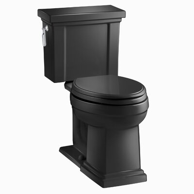 Tresham Comfort Height 1.28 GPF Elongated Two-Piece Toilet Finish: Black Black
