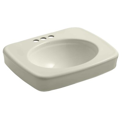Bancroft� Ceramic 24 Pedestal Bathroom Sink Finish: Almond, Faucet Hole Style: 4 Centerset