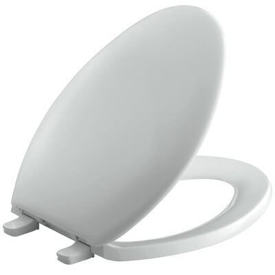 Bancroft with Quick-Release Hinges Elongated Toilet Seat with Plastic Hinges Finish: Ice Grey