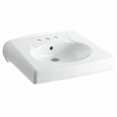 Brenham Ceramic 22 Wall Mount Bathroom Sink with Overflow Finish: White, Faucet Hole Style: 4 Centerset