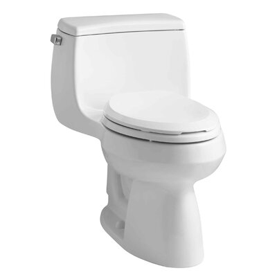 Gabrielle Comfort Height One-Piece Elongated 1.28 GPF Toilet with Aquapiston Flush Technology and Left-Hand Trip Lever Finish: White